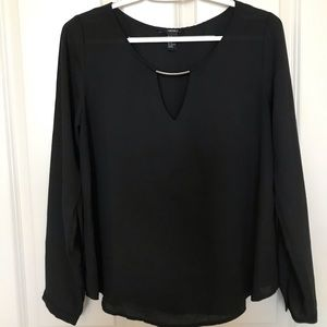 Forever 21 Black Chiffon Blouse with Silver Detail